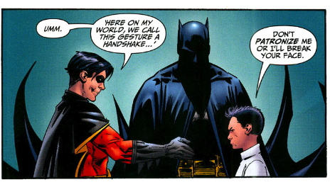 Tim and Damian shake hands