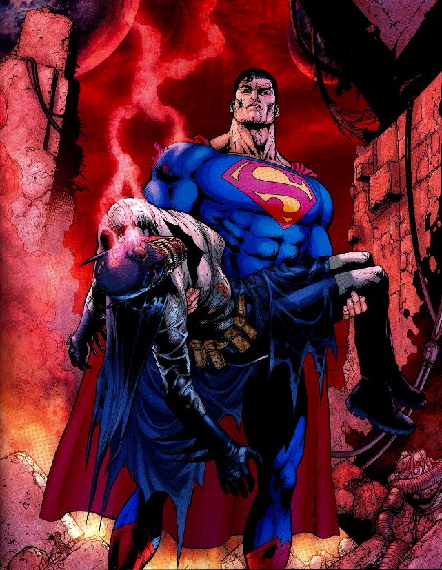 superman holding batmanb