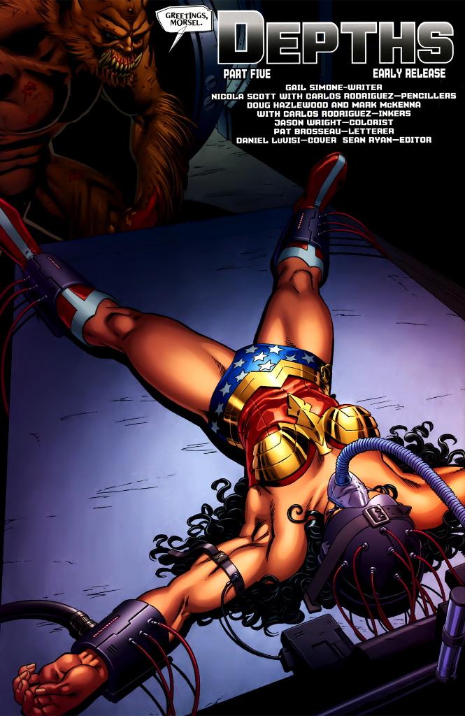 wonder woman in bondage scene