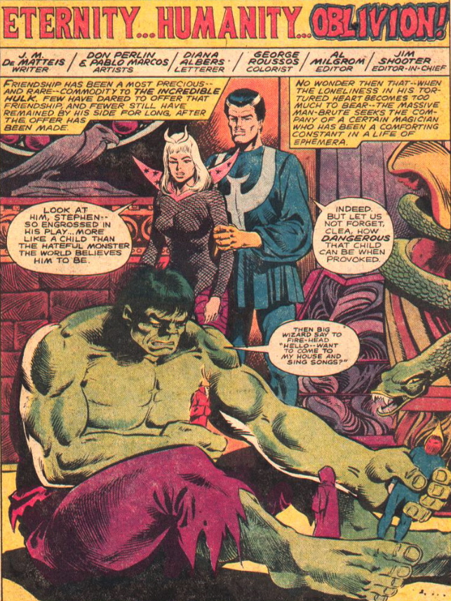 THE DEFENDERS #92 hulk plays with toys