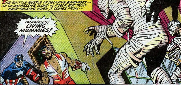 captain america and falcon fight living mummies